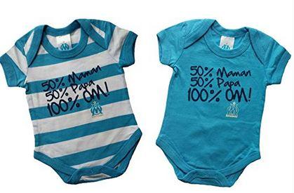 9ad5e340ebab0 Cadeaux OM Marseille pour bébé (body + bavoir + biberon) – Idées ...